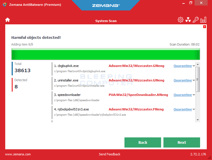 Zemana AntiMalware Scan Results