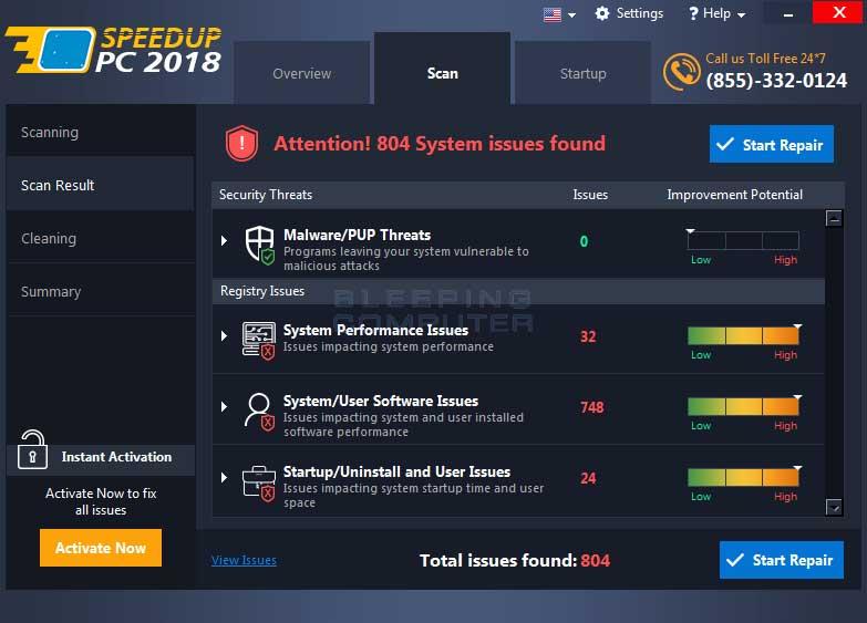 Speedup PC 2018 Scan Results