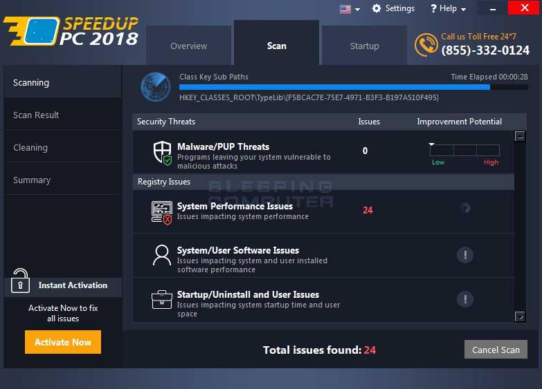 Speedup PC 2018 Scanning Screen