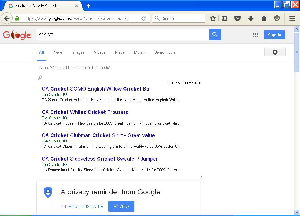 Firefox Hijacked with Search Splendor Ads