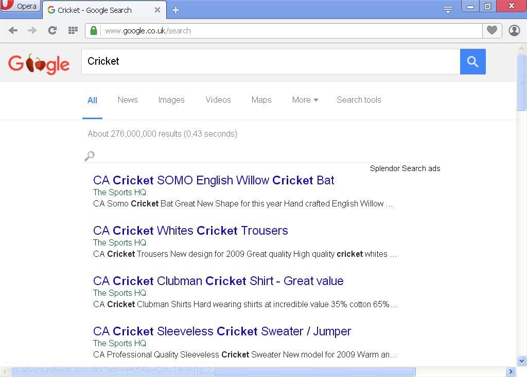 Opera Hijacked with Search Splendor Ads