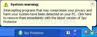 Fake security alert from Windows taskbar