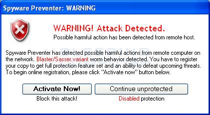 Spyware Preventer fake alert