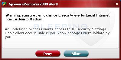 Fake security alert advertising SpywareRemover 2009