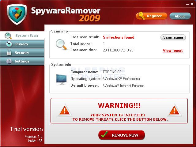 SpywareRemover 2009 screen shot