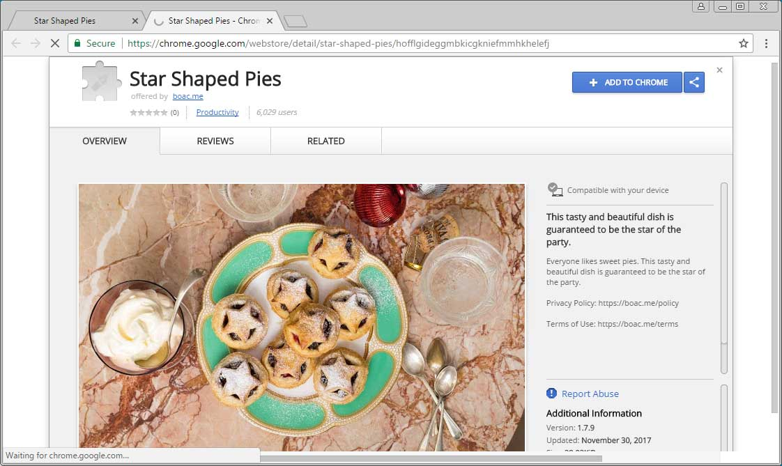 Star Shaped Pies Chrome Web Store Page