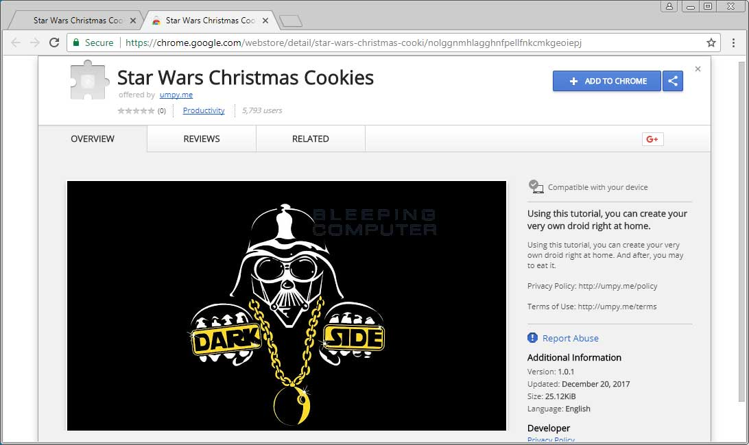 Star Wars Christmas Cookies Chrome Extension