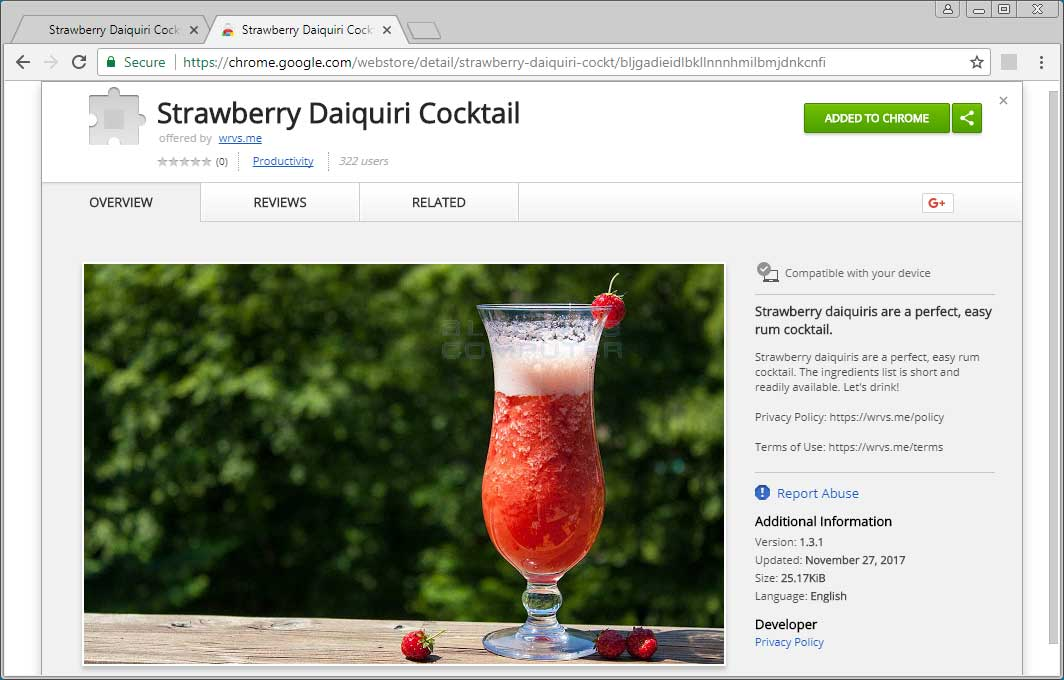 Strawberry Daiquiri Cocktail Chrome Web Store Page