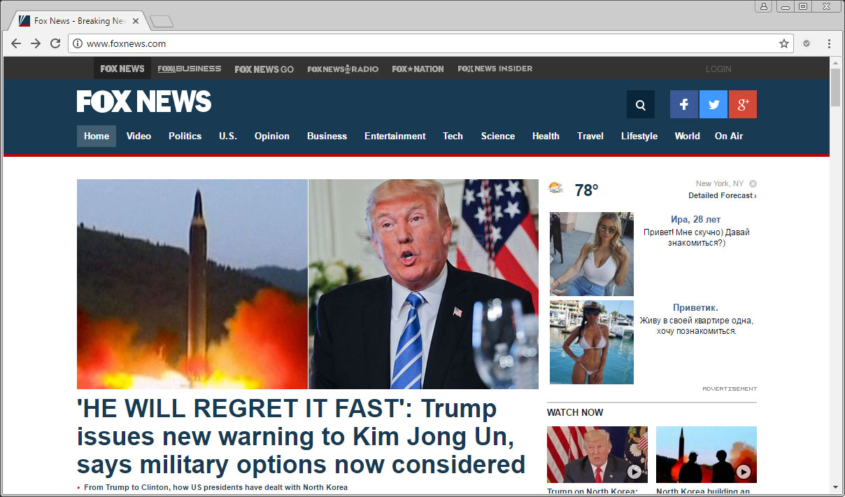 Russian Ads injected into Foxnews.com