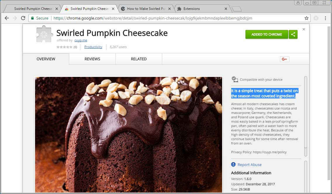 Swirled Pumpkin Cheesecake Chrome Extension