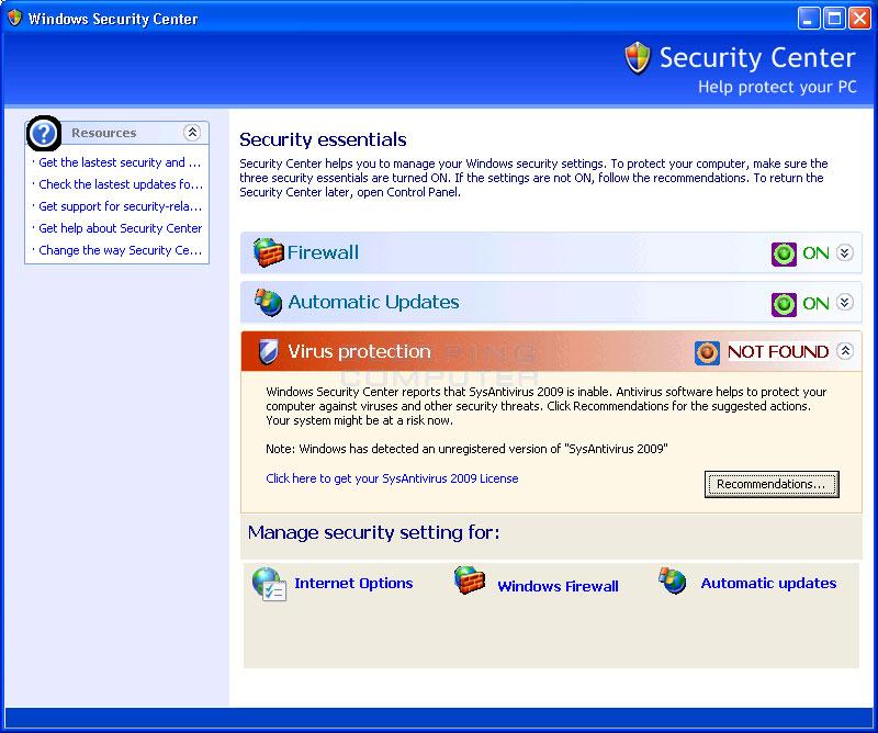 Fake Windows Security Center promoting SysAntivirus 2009