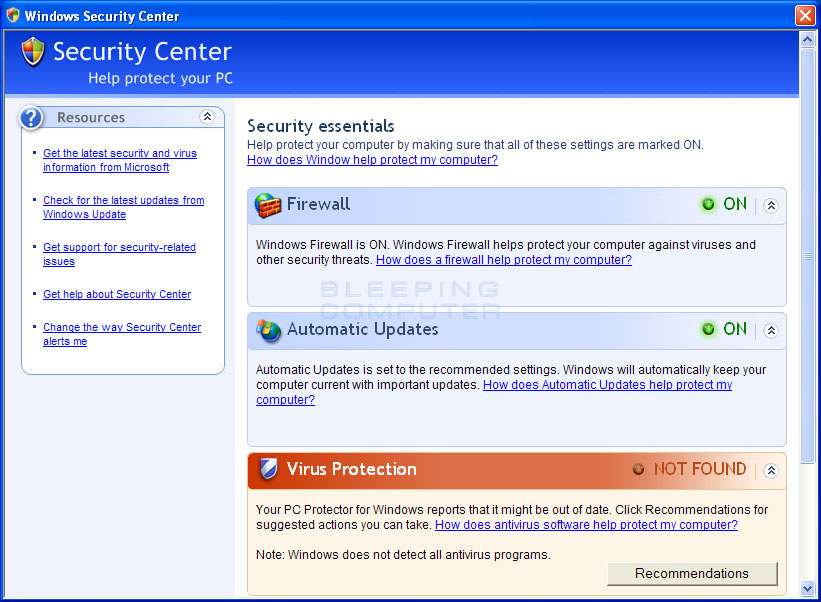 Fake Windows Security Center
