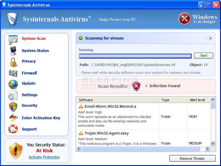 Sysinternals Antivirus screen shot