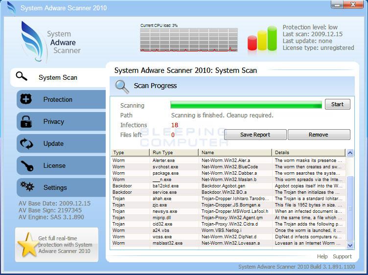 System Adware Scanner 2010 screen shot