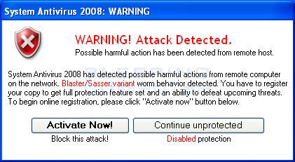Fake warning from System Antivirus 2008
