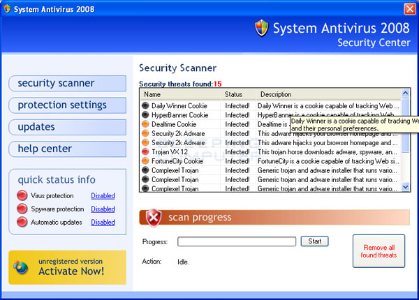 System Antivirus 2008 scan results