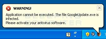 Fake infected program alert