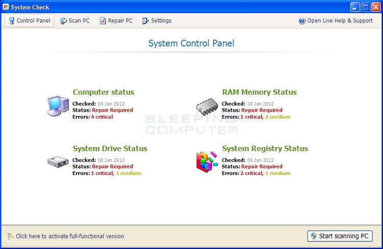 System Check screen shot
