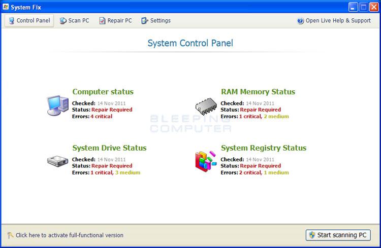 System Fix screen shot