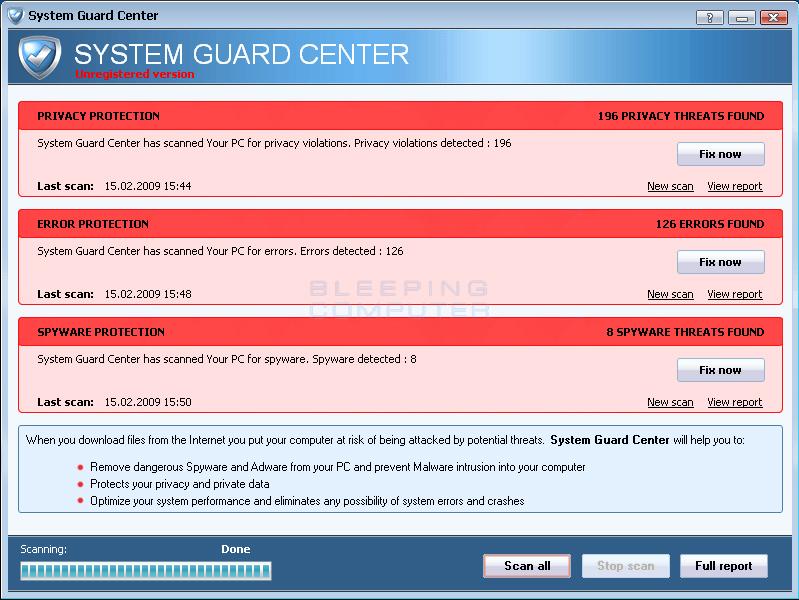 System Guard Center screen shot