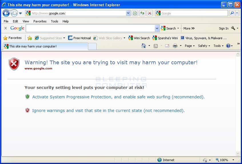 Hijacked Web Browser
