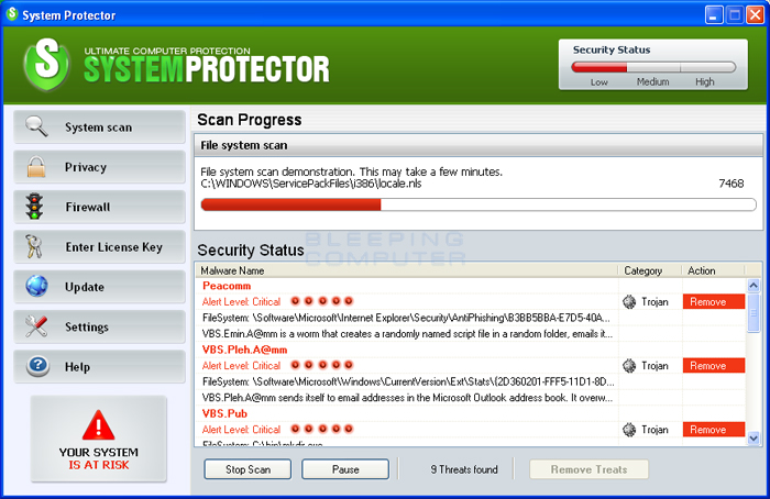 System Protector screen shot