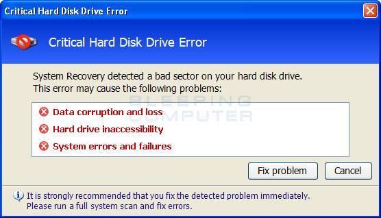 Critical Hard Disk Error