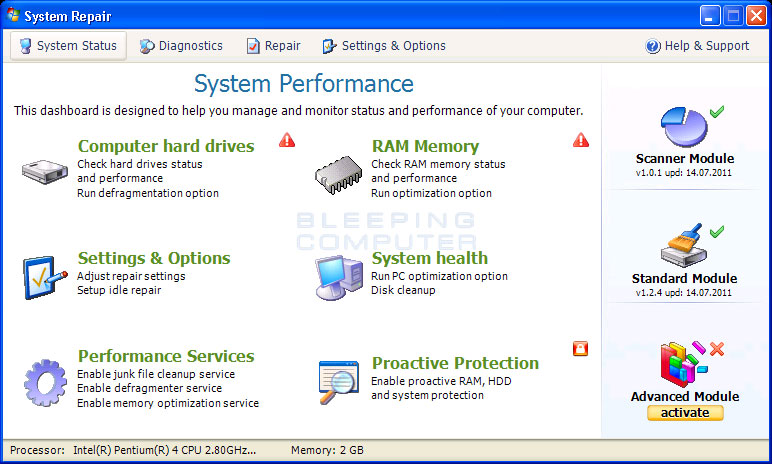 System Repair screen shot