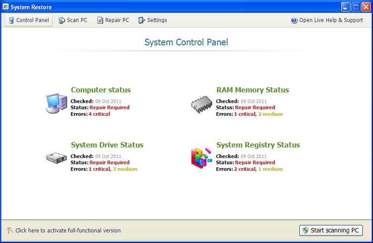 System Restore screen shot