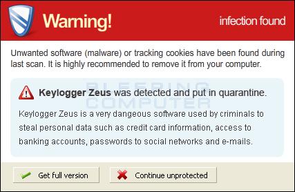 Fake Zeus Trojan Alert
