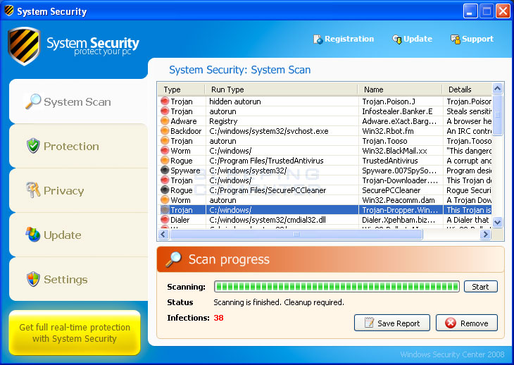 System Security screen shot