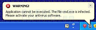 Fake infected file warning