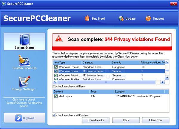 SecurePCCleaner Screenshot
