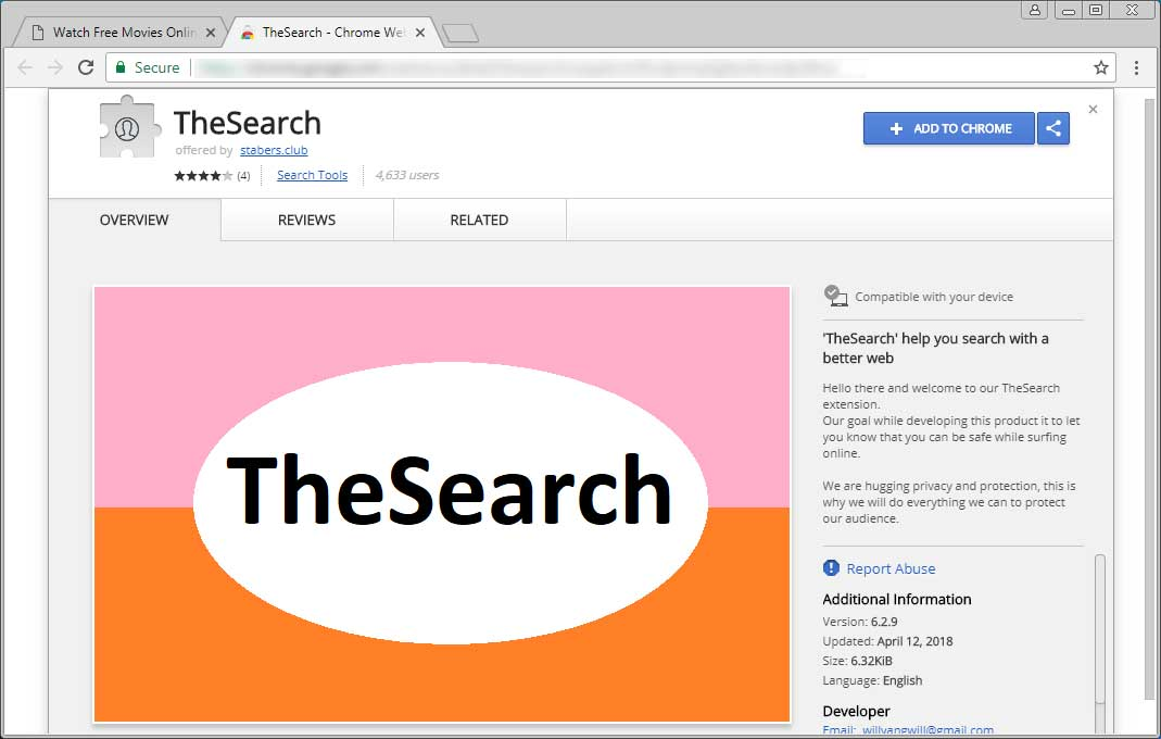 TheSearch Chrome Web Store Page