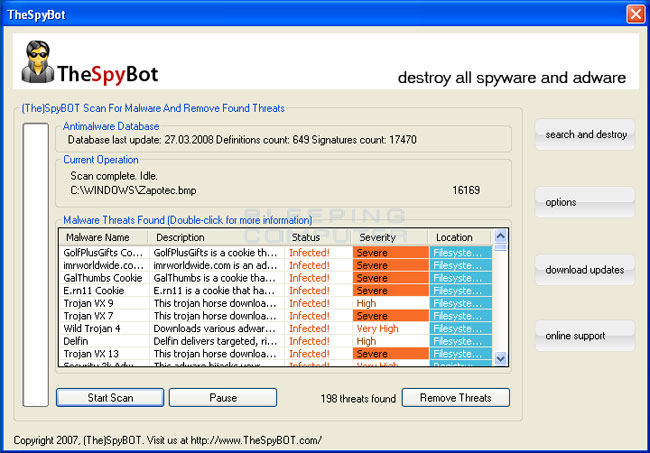 TheSpyBot screen shot and scan results
