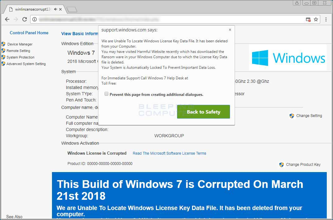 This Build of Windows 7 is Corrupted Tech Support Scam