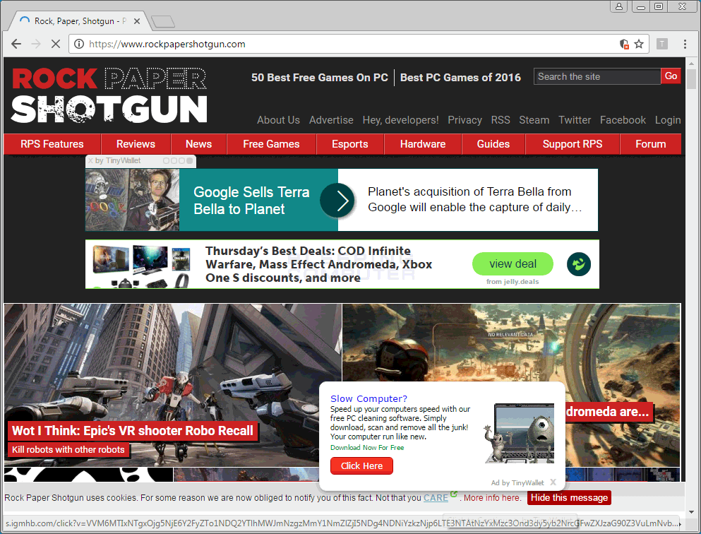 TinyWallet ads on Rockpapershotgun