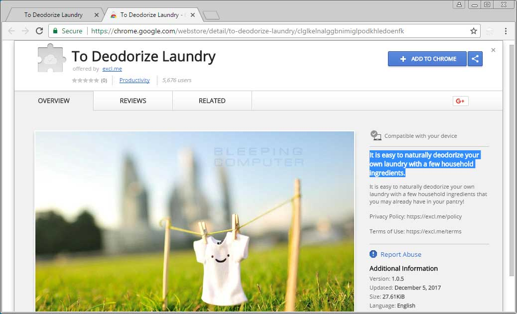 Remove the To Deodorize Laundry Chrome Extension