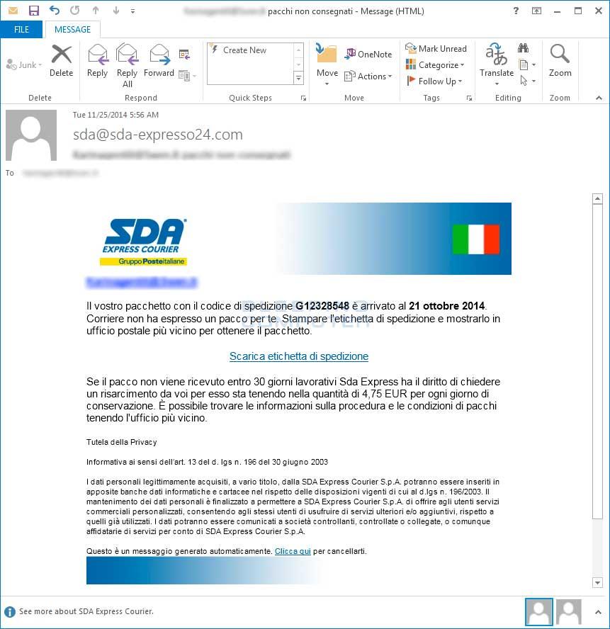 Una finta email da SDA