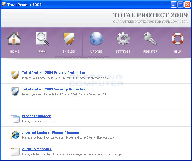 Total Protect 2009 shields screen