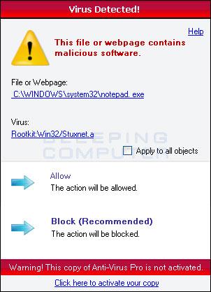 Virus Detected Alert