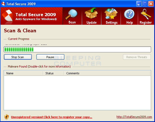 Total Secure 2009 screen shot
