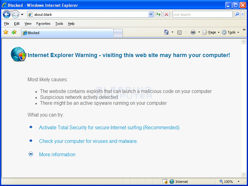 Internet Explorer Hijacked to not let you browse