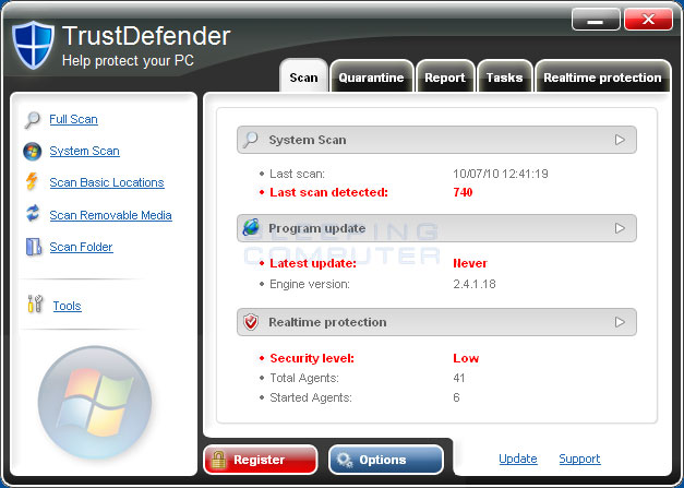 TrustDefender screen shot