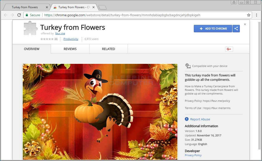 Turkey from Flowers Chrome Web Store Page