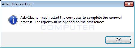 AdwCleaner Reboot Prompt