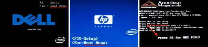 Various boot menu screens