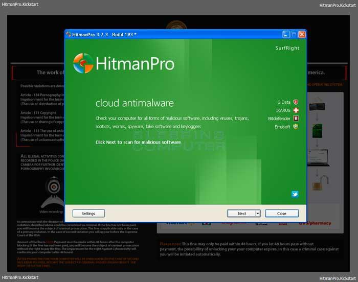 HitmanPro Kickstart overlayed on top of the ransomware screen