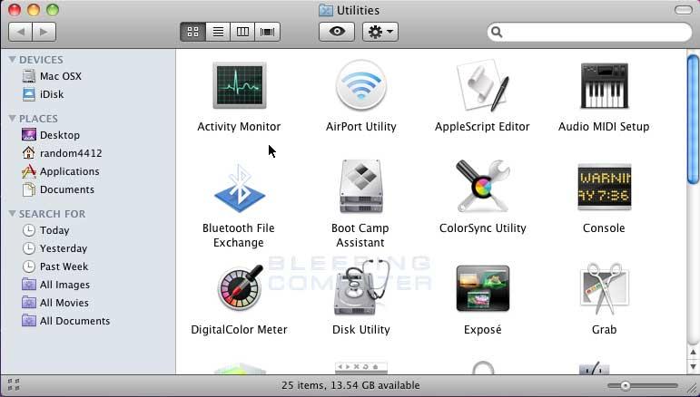 Mac OS Utilities Folder