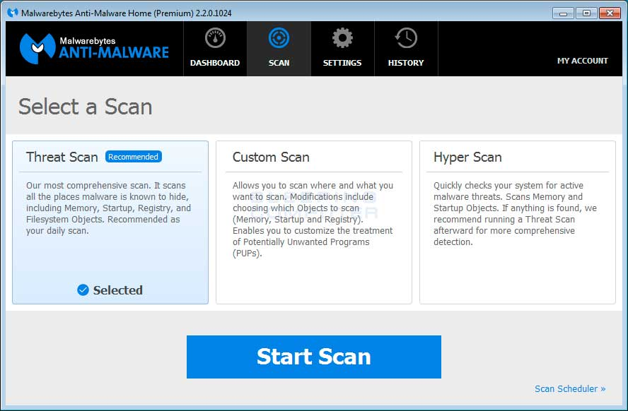 Malwarebytes Anti-Malware Scan Screen